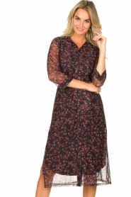 Freebird |  Floral button-up dress Victoria | red  | Picture 4