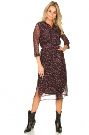 Freebird |  Floral button-up dress Victoria | red  | Picture 3