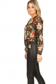 Freebird |  Floral wrap blouse April | black  | Picture 6