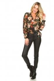 Freebird |  Floral wrap blouse April | black  | Picture 3