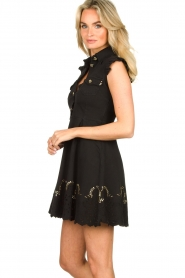 Fracomina |  Dress with embroidery details Yip | black  | Picture 6