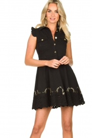 Fracomina |  Dress with embroidery details Yip | black  | Picture 5