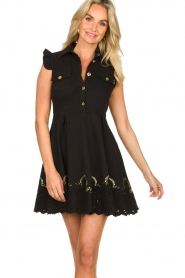 Fracomina |  Dress with embroidery details Yip | black  | Picture 4