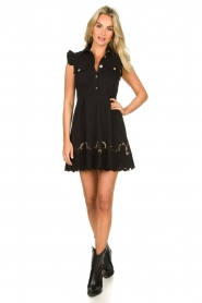 Fracomina |  Dress with embroidery details Yip | black  | Picture 3