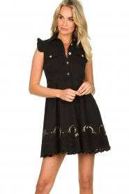 Fracomina |  Dress with embroidery details Yip | black  | Picture 2