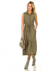Fracomina |  Sleeveless midi dress Laura | grey  | Picture 3