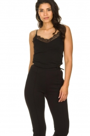 Fracomina |  Sleeveless top with lace July | black  | Picture 2