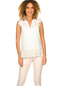 Fracomina |  See-through top with dots Veerle |  white  | Picture 2