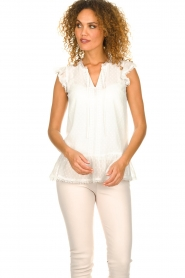 Fracomina |  See-through top with dots Veerle |  white  | Picture 4