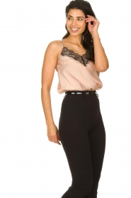 Fracomina |  Shimmering top with lace Mina | nude  | Picture 3