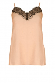 Fracomina |  Shimmering top with lace Mina | nude  | Picture 1