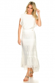 Fracomina |  Maxi skirt  with lace Mediterane | white  | Picture 3
