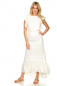 Fracomina |  Maxi skirt  with lace Mediterane | white  | Picture 4