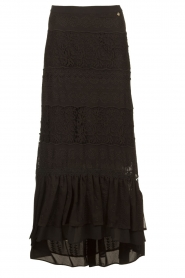 Fracomina |  Maxi skirt with lace | black  | Picture 1