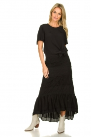 Fracomina |  Maxi skirt with lace | black  | Picture 4