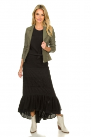 Fracomina |  Maxi skirt with lace | black  | Picture 3