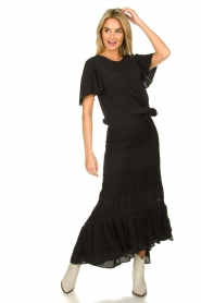 Fracomina |  Maxi skirt with lace | black  | Picture 2