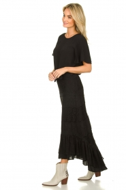 Fracomina |  Maxi skirt with lace | black  | Picture 5