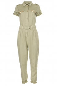 Fracomina |  Jumpsuit with stones Perla | green  | Picture 1