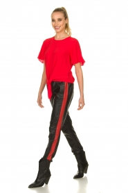 Set |  Leather pants with red side stripes Yris | black  | Picture 3