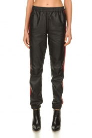 Set |  Leather pants with red side stripes Yris | black  | Picture 2