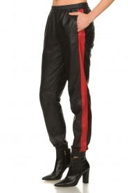 Set |  Leather pants with red side stripes Yris | black  | Picture 4