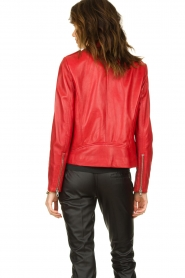 Set |  Leather biker jacket Tyler | red  | Picture 6