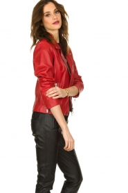 Set |  Leather biker jacket Tyler | red  | Picture 5