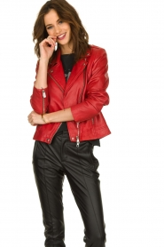 Set |  Leather biker jacket Tyler | red  | Picture 4