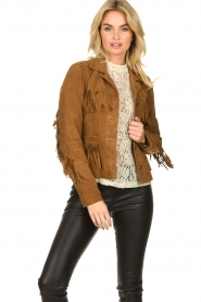 Set |  Leather jacket with fringe Wild West | brown  | Picture 2