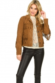 Set |  Leather jacket with fringe Wild West | brown  | Picture 4