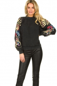 Lolly's Laundry |  Printed sweatshirt Tate | black  | Picture 2