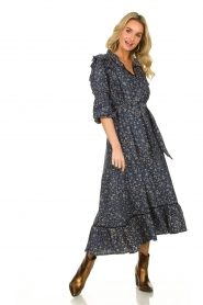 Lolly's Laundry |  Flower printed maxi dress Sanni | blue  | Picture 3