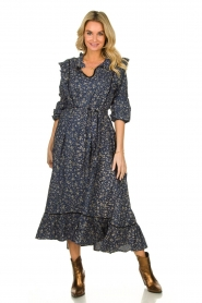 Lolly's Laundry |  Flower printed maxi dress Sanni | blue  | Picture 2