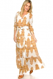 Silvian Heach |  Maxi dress with baroque print Campo | natural  | Picture 3