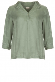JC Sophie |  Blouse with v-neck | green   | Picture 1