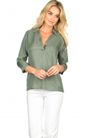 JC Sophie |  Blouse with v-neck | green   | Picture 2