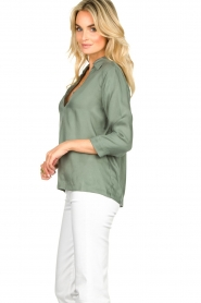 JC Sophie |  Blouse with v-neck | green   | Picture 6