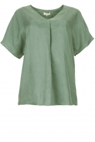 JC Sophie |  Blouse with v-neck Camellia | green  | Picture 1