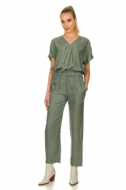 JC Sophie |  Blouse with v-neck Camellia | green  | Picture 3