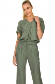 JC Sophie |  Blouse with v-neck Camellia | green  | Picture 2