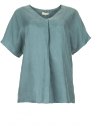 JC Sophie |  Blouse with v-neck Camellia | blue  | Picture 1