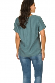 JC Sophie |  Blouse with v-neck Camellia | blue  | Picture 5