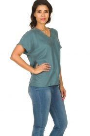 JC Sophie |  Blouse with v-neck Camellia | blue  | Picture 4