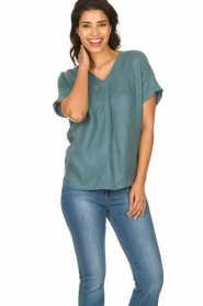 JC Sophie |  Blouse with v-neck Camellia | blue  | Picture 2