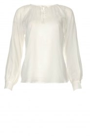 JC Sophie |  See-through blouse with bow | white  | Picture 1