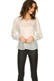 JC Sophie |  See-through blouse with bow | white  | Picture 3