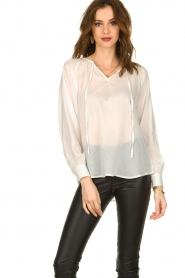 JC Sophie |  See-through blouse with bow | white  | Picture 2