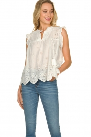 JC Sophie | Broderie blouse Chassie | wit   | Afbeelding 2