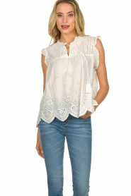 JC Sophie | Broderie blouse Chassie | wit   | Afbeelding 4